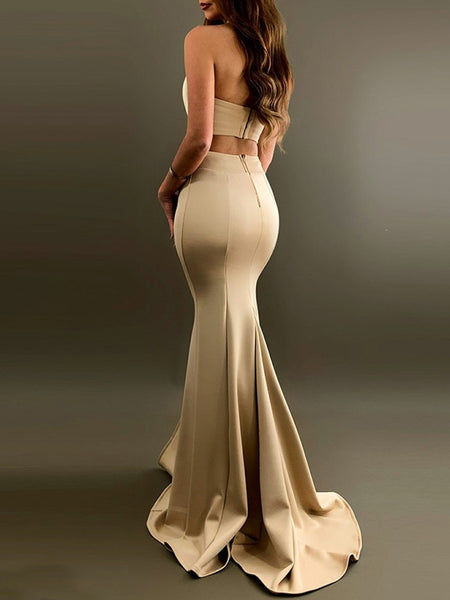Strapless Two Pieces Champagne Prom Dresses with Slit, Two Pieces Champagne Formal Dresses, Champagne Evening Dresses