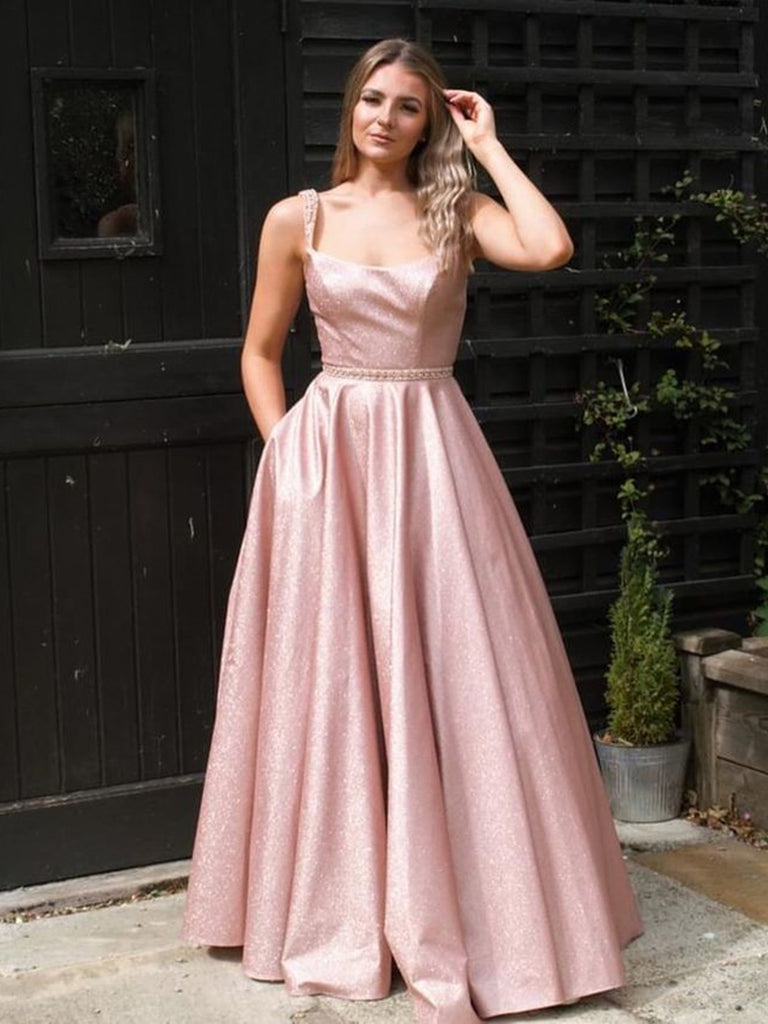 Stylish A Line Floor Length Pink Long Prom Dresses with Straps, Shiny Pink Formal Evening Dresses