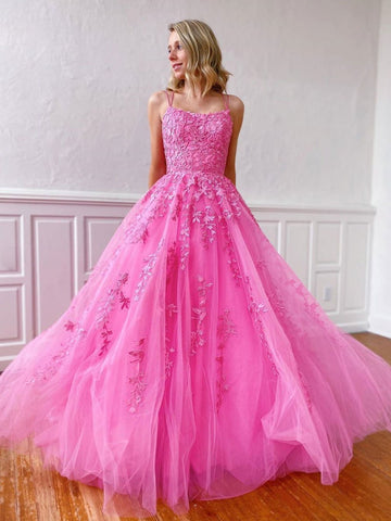 Stylish Backless Pink Lace Long Prom Dresses, Pink Lace Formal Graduation Evening Dresses