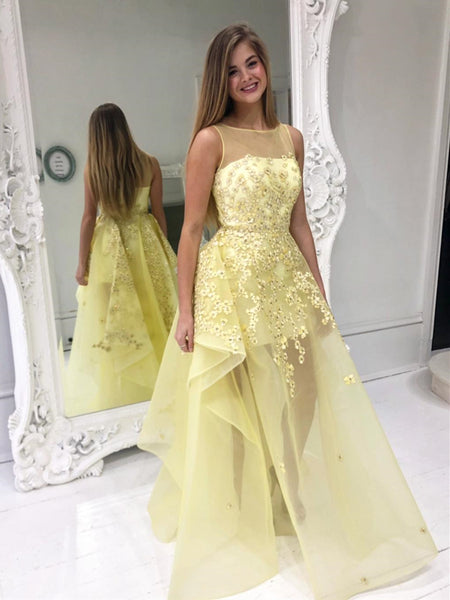 Stylish Round Neck Yellow Lace Floral Prom Dresses, Yellow Lace Formal Graduation Evening Dresses