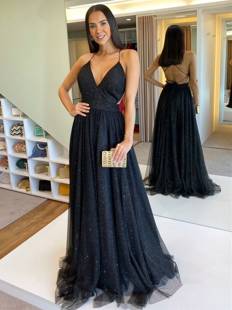 Stylish V Neck Backless Black Long Prom Dresses, Shiny Backless Black Formal Graduation Evening Dresses