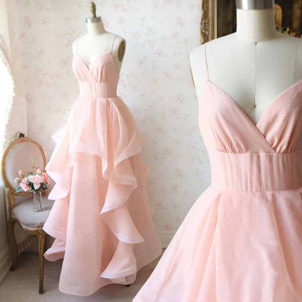 Stylish V Neck Long Pink Prom Dresses, Fluffy Pink Formal Evening Dresses, Pink Ball Gown