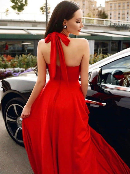 Stylish Halter Neck Red Long Prom Dresses, Elegant Halter Neck Red Formal Dresses, Red Evening Dresses