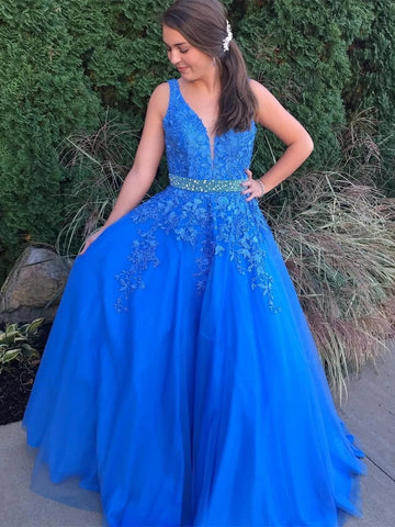 Stylish V Neck Backless Blue Lace Long Prom Dresses 2020 with Belt, Backless Blue Lace Formal Dresses, Blue Lace Evening Dresses