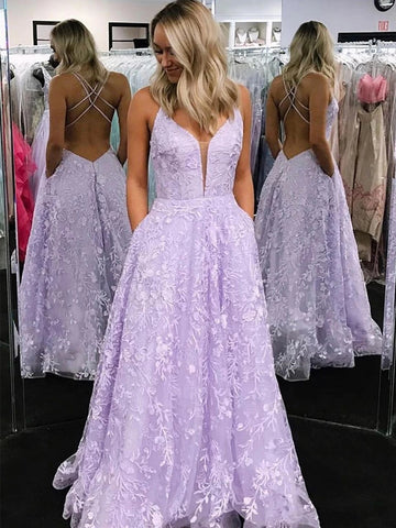 Stylish V Neck Backless Lilac Lace Appliques Prom Dresses 2020, Backless Lavender Lilac Lace Formal Graduation Evening Dresses
