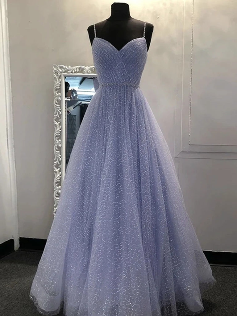 Stylish V Neck Sequins Lilac Prom Dresses 2020, Shiny Lilac Lavender Formal Graduation Evening Dresses, Sparkly Party Dresses