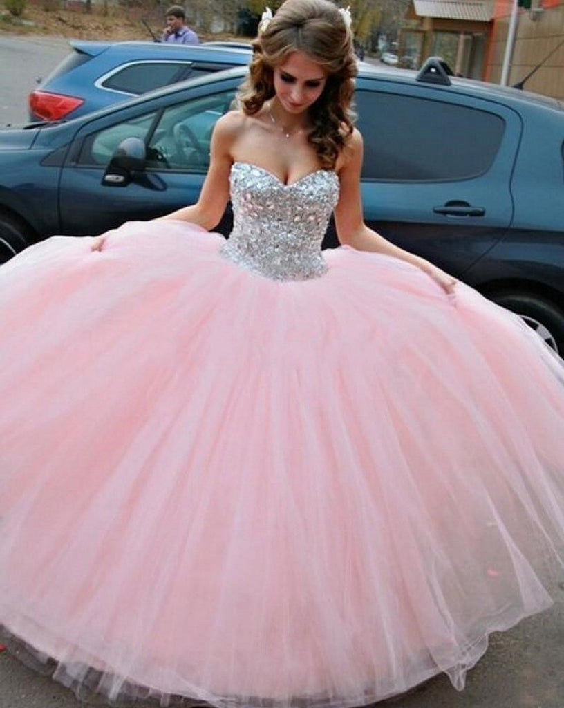 Pink Ball Gown Girls Sweet 16 , Tulle Rhinestone Long Prom Dress ...