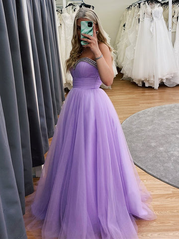 Sweetheart Neck Beaded Long Purple Prom Dresses, Lavender Formal Dresses, Lilace Evening Dresses