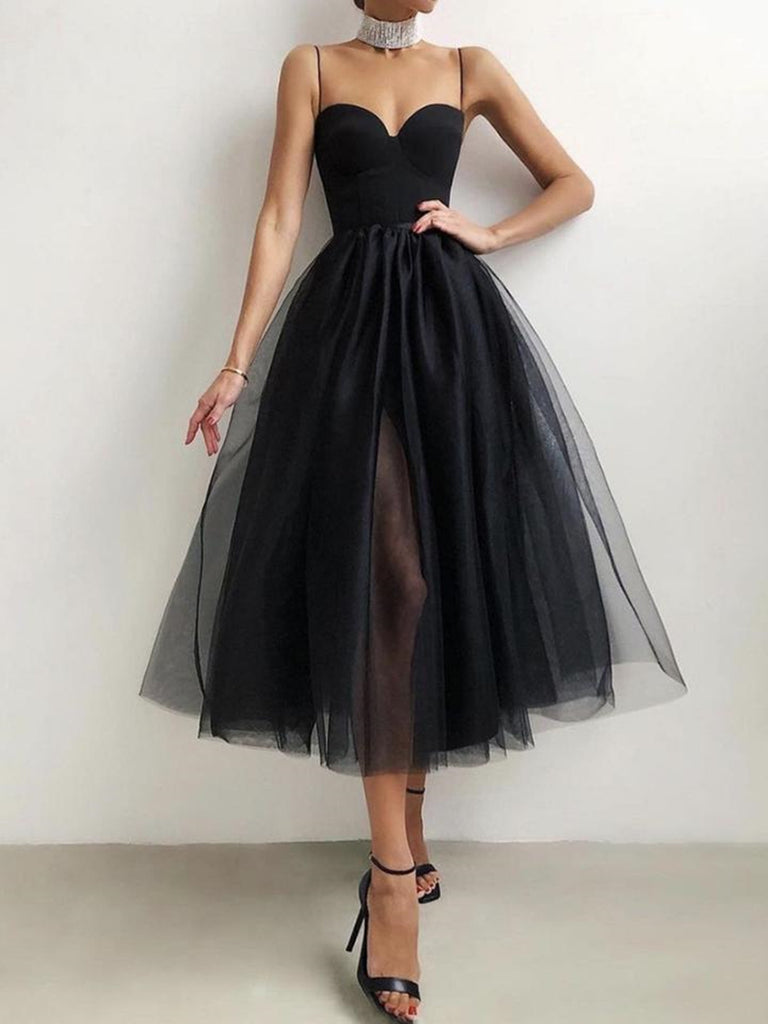 Sweetheart Neck Short Black Prom Dresses with Straps, Short Black Formal Graduation Evening Dresses