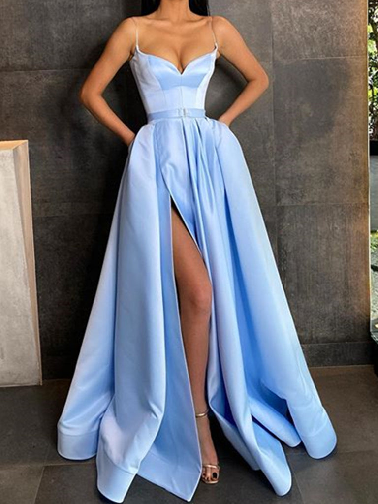 Sweetheart Neck Spaghetti Straps Long Blue Prom Dresses, Spaghetti Straps Blue Formal Evening Dresses