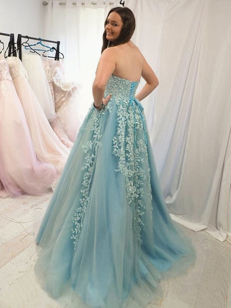 Sweetheart Neck Strapless Blue Lace Long Prom Dresses, Ice Blue Lace Formal Graduation Evening Dresses
