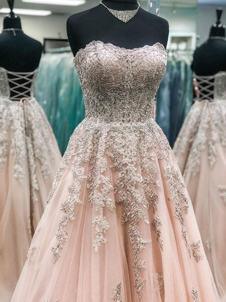 Sweetheart Neck Strapless Champagne Lace Long Prom Dresses, Champagne Lace Formal Dresses, Champagne Evening Dresses