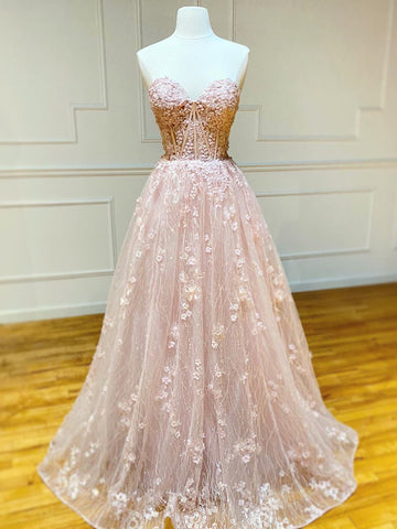 Sweetheart Neck Strapless Pink Floral Long Prom Dresses, Long Pink Floral Formal Evening Dresses