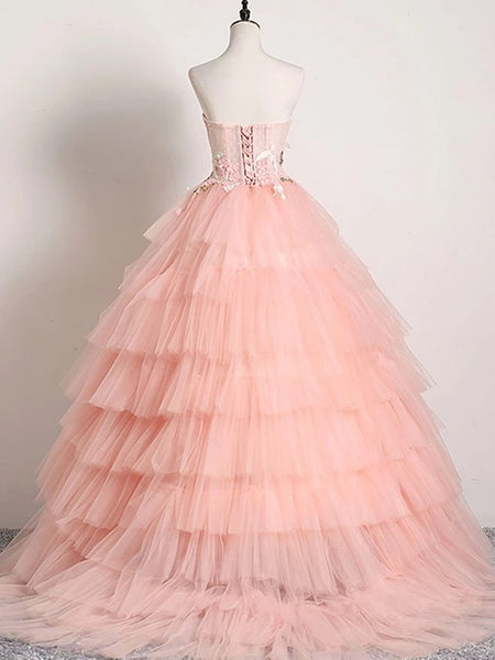 Sweetheart Neck Backless Pink Lace Appliques Prom Dresses, Lace Pink Formal Dresses, Pink Evening Dresses, Ball Gown