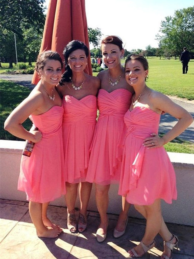 Sweetheart Neck Coral Prom Dresses, Coral Bridesmaid Dresses, Coral Graduation Dress Homecoming Dresses,