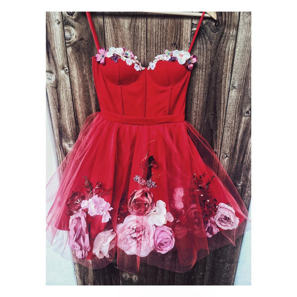 Sweetheart Neck Short Red 3D Floral Prom Dresses, Short Red Floral Formal Homecoming Dresses