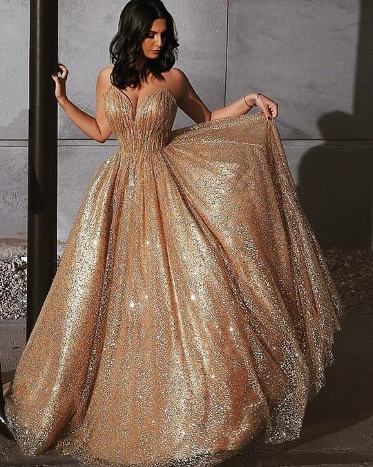333ac4461cc ... Sweetheart Neck Spaghetti Straps Backless Sparkly Gold Sequins Prom  Dresses