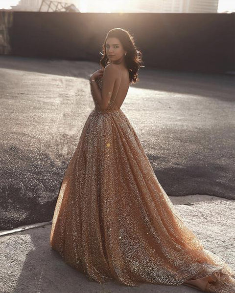 Sweetheart Neck Spaghetti Straps Backless Sparkly Gold Sequins Prom Dresses, Golden Ball Gown, Formal Dresses, Evening Dresses