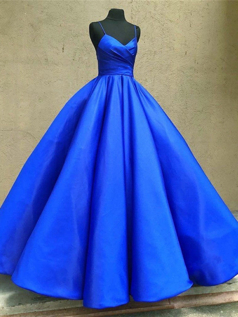 Sweetheart Neck Spaghetti Straps Royal Blue Satin Long Prom Dresses, Royal Blue Ball Gown, Formal Dresses