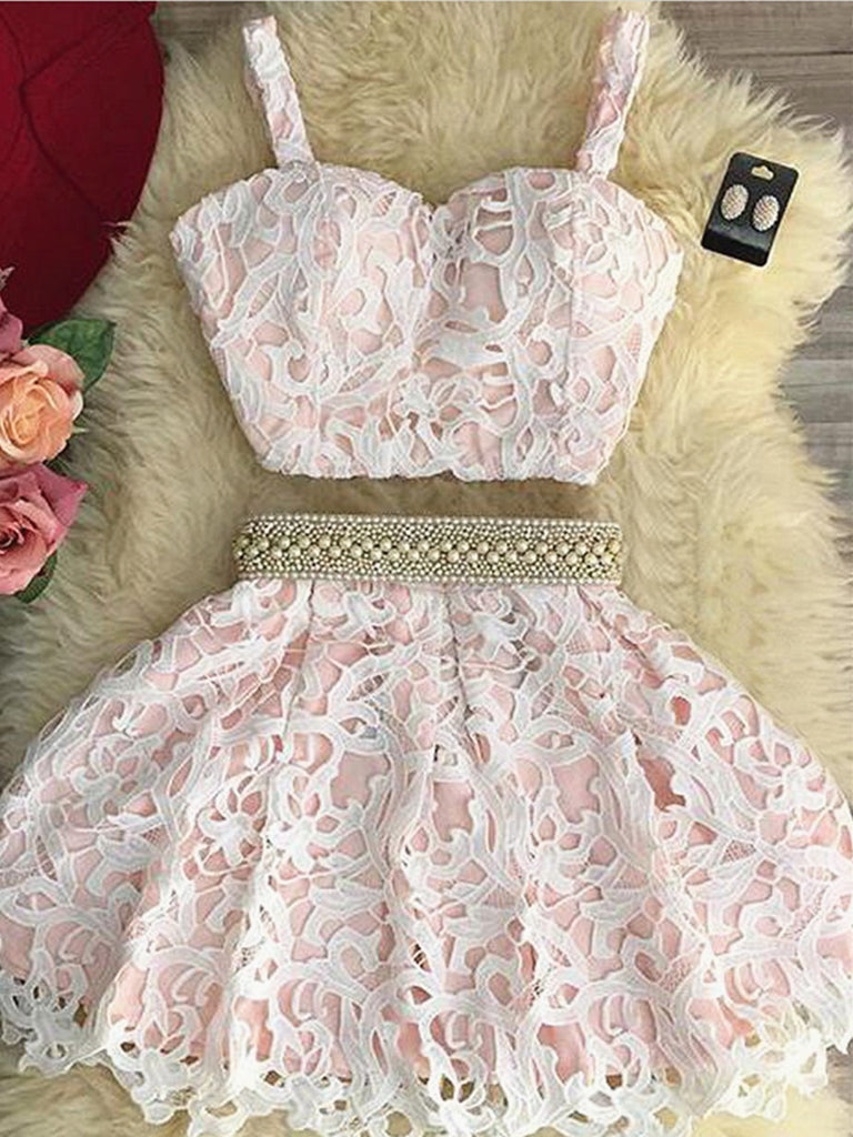Sweetheart Neck Two Pieces Lace Pink Homecoming Dresses Short Prom Dresses, 2 Piece Pink Formal Dresses, Pink Lace Graduation Dresses, Evening Dresses