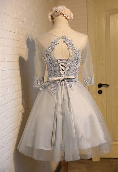 A Line Round Neck Short Gray/Pink Lace Prom Dresses, Graduation Dresses, Homecoming Dresses, Bridesmaid Dresses