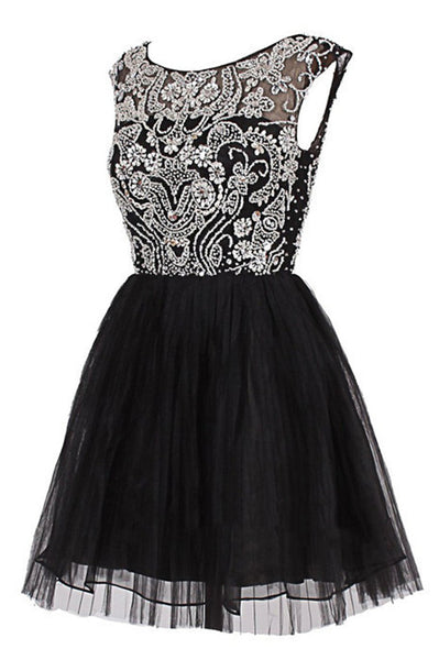 Custom Made A Line Round Neck Short Black Prom Dress, Short Black Homecoming Dress, Graduation Dress