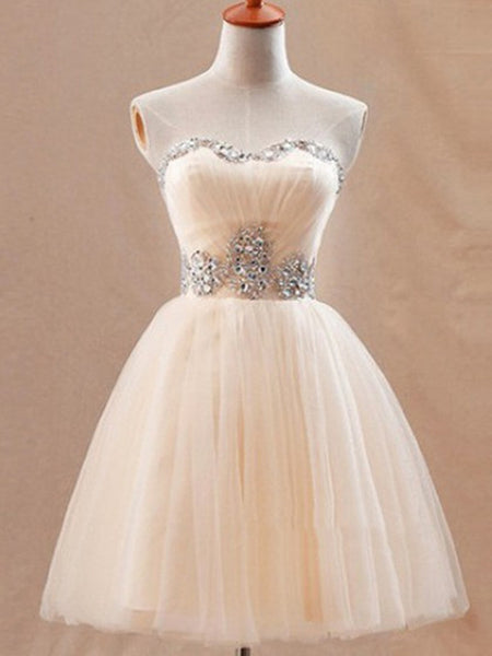 A Line Sweetheart Neck Champagne Prom Dresses, Short Champagne Bridesmaid Dresses, Graduation Dress, Homecoming Dress