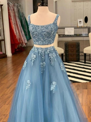 Two Piece Blue Lace Long Prom Dresses, 2 Piece Blue Formal Dresses, Blue Lace Evening Dresses
