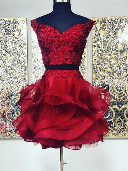 Two Pieces Short Burgundy Lace Prom Dresses, Burgundy Lace Formal Graduation Homecoming Dresses