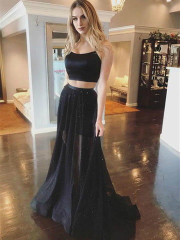 Two Piece Spaghetti Straps Mermaid Cross Back Satin Black Long Prom Dresses, 2 Pieces Black Formal Dresses, Black Graduation Dresses