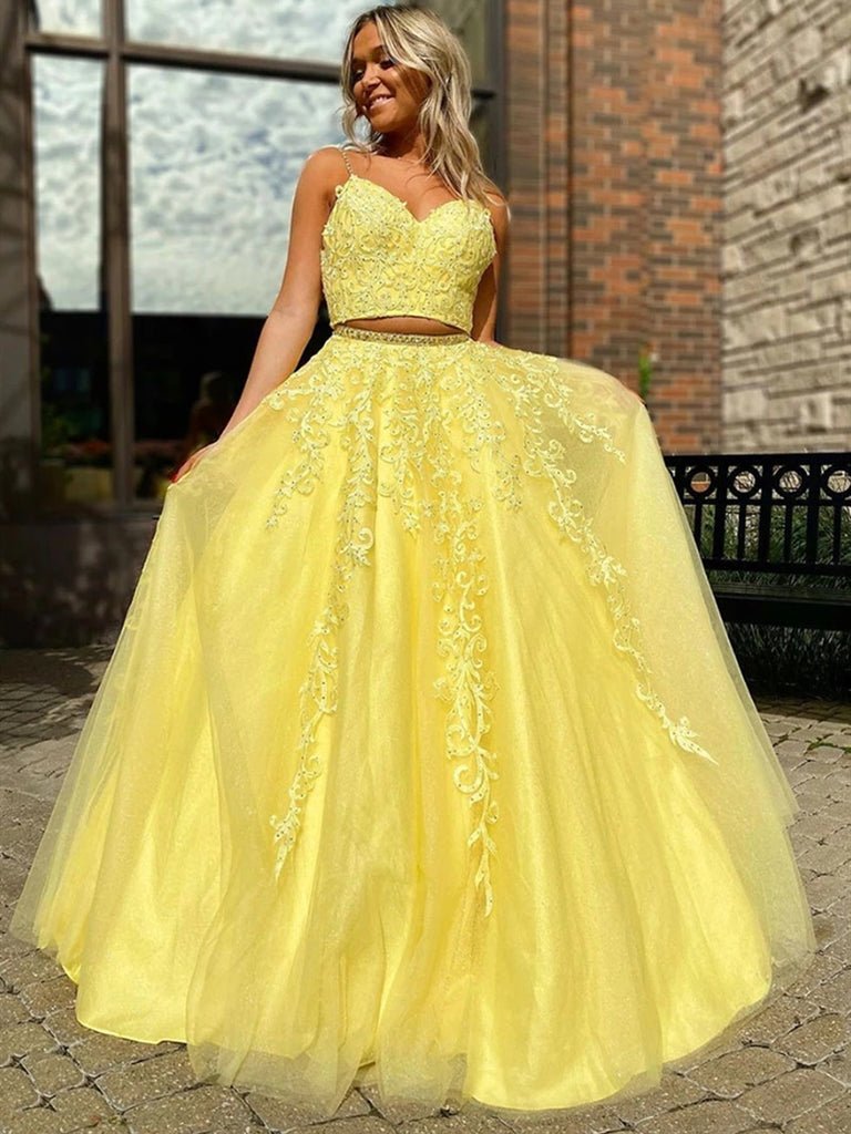 V Neck Two Pieces Backless Beaded Yellow Lace Long Prom Dresses, 2 Pieces Lace Yellow Formal Dresses, 2 Pieces Backless Yellow Evening Dresses