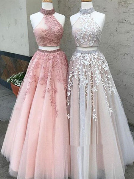 Two Pieces Champagne/Pink Lace Prom Dresses, Two Pieces Lace Formal Dresses, Two Pieces Lace Graduation Dresses