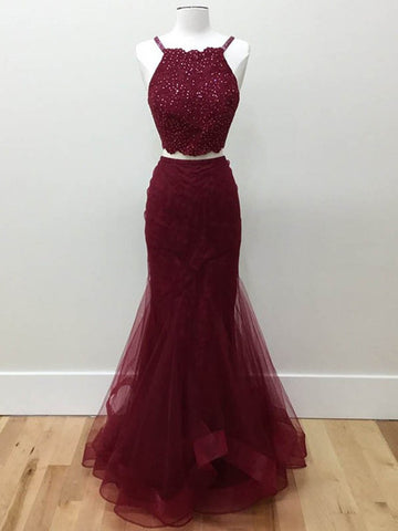 Two Pieces Halter Neck Mermaid Tulle Maroon Prom Dresses with Beadings, Maroon Formal Dresses, Evening Dresses