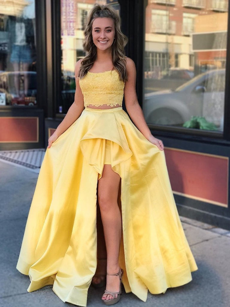 Two Pieces High Low Lace Yellow Prom Dresses, Two Pieces Yellow Formal Dresses, Lace Yellow Evening Dresses