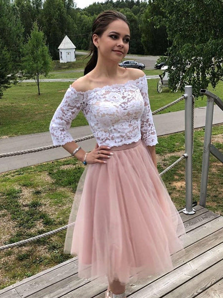 Two Pieces Long Sleeves White Lace Top Pink Short Prom Dresses Homecoming Dresses, Long Sleeves Lace Formal Dresses, Evening Dresses