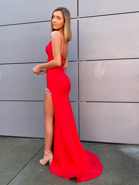 Two Pieces Mermaid Backless Beaded Red Long Prom Dresses with Slit, Two Pieces Mermaid Red Formal Graduation Evening Dresses