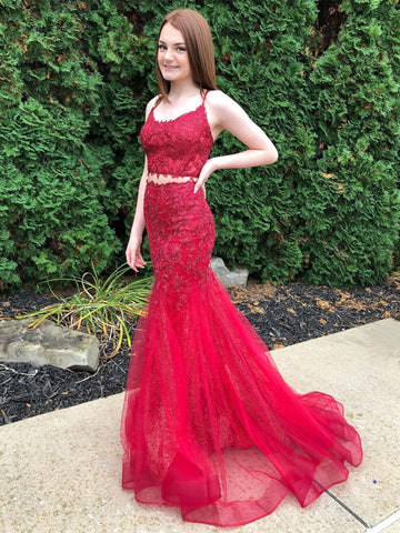 Two Pieces Mermaid Lace Long Burgundy Prom Dresses, Two Pieces Burgundy Lace Formal Dresses, Mermaid Burgundy Lace Evening Dresses