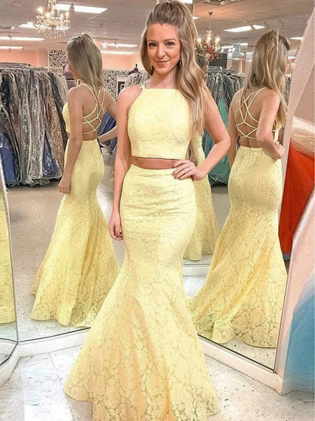 Two Pieces Mermaid Yellow Lace Prom Dresses, Two Pieces Mermaid Yellow Formal Dresses, Two Pieces Lace Yellow Evening Dresses