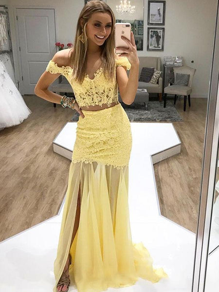 Two Pieces Off Shoulder Mermaid Lace Yellow Prom Dresses with Slit, Off Shoulder Mermaid Formal Dresses, Yellow Lace Evening Dresses