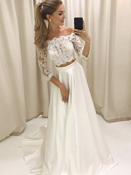 Two Pieces Off the Shoulder 3/4 Sleeves Lace Top White Prom Dresses, Off Shoulder Long Sleeves White Formal Dresses, Lace White Evening Dresses