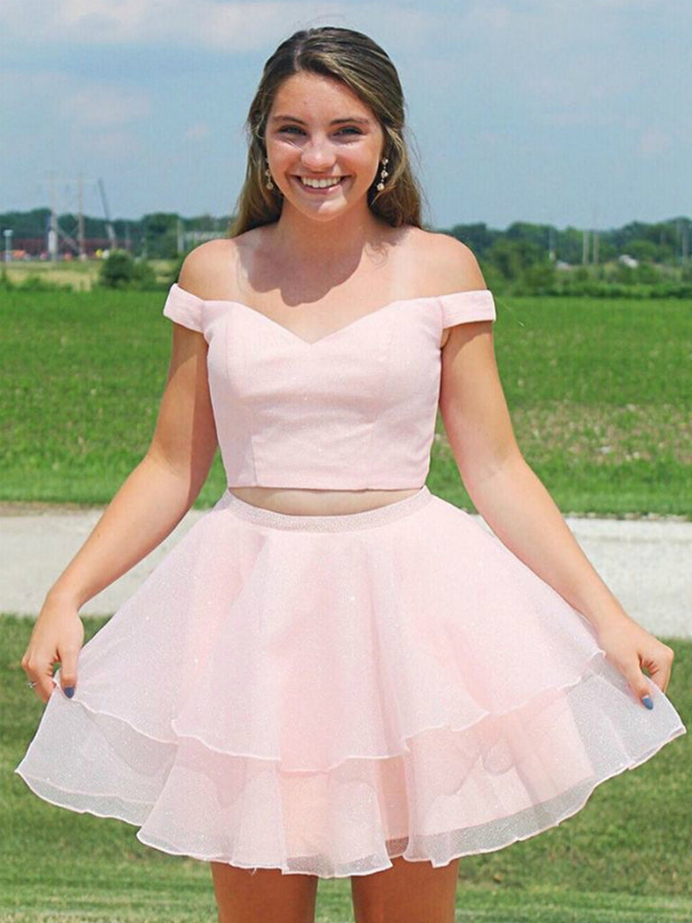 Two Pieces Off the Shoulder Pink Short Prom Dresses Homecoming Dresses with Cross Back, Off Shoulder Two Piece Pink Formal Graduation Evening Dresses