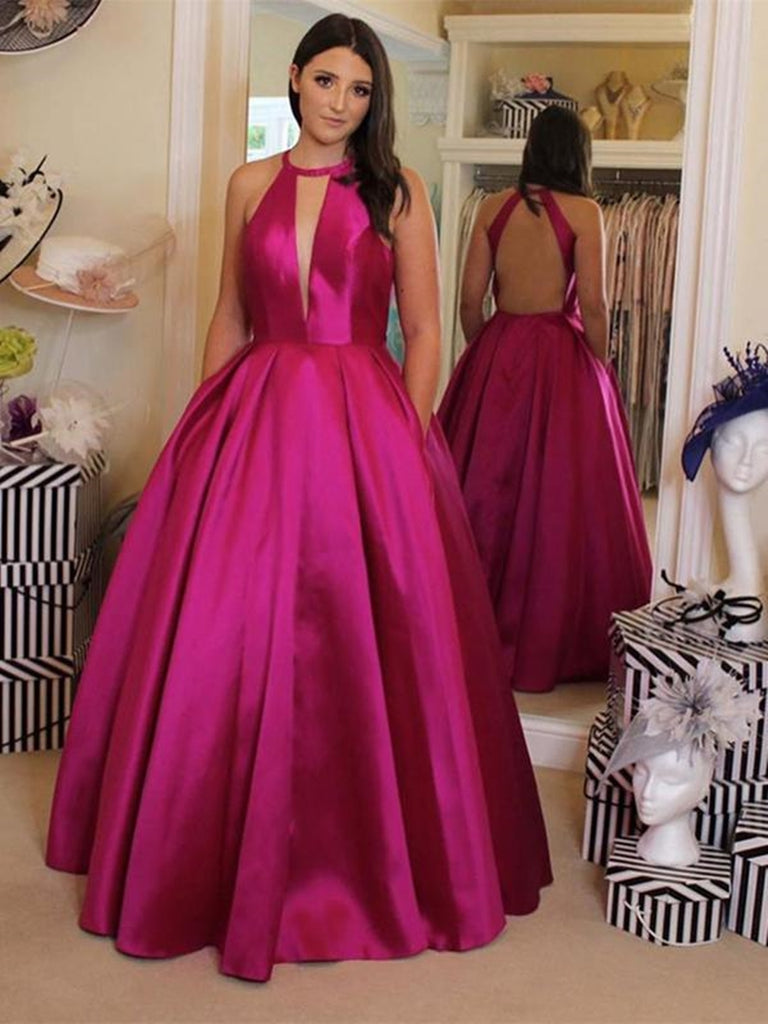 Unique Halter V Neck Backless Magenta Prom Dresses with Pocket, Backless Magenta Formal Dresses, Sexy Magenta Evening Dresses