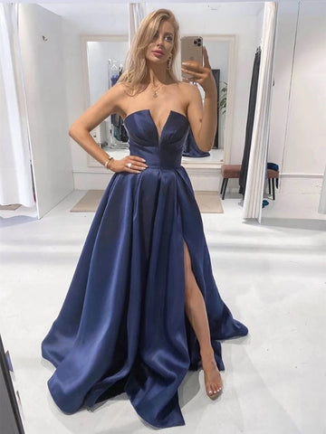 Unique Strapless V Neck Blue Satin Long Prom Dresses with High Slit, V Neck Blue Formal Graduation Evening Dresses