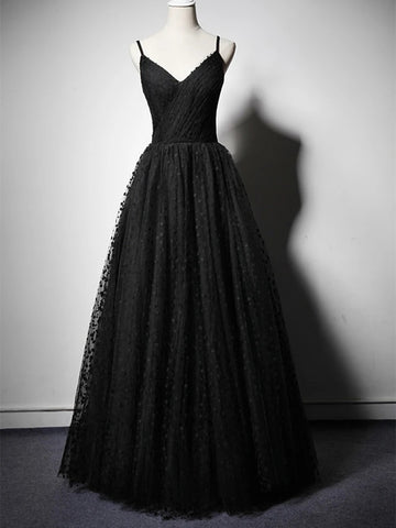 Unique V Neck Black Spotted Long Prom Dresses, V Neck Black Formal Graduation Evening Dresses