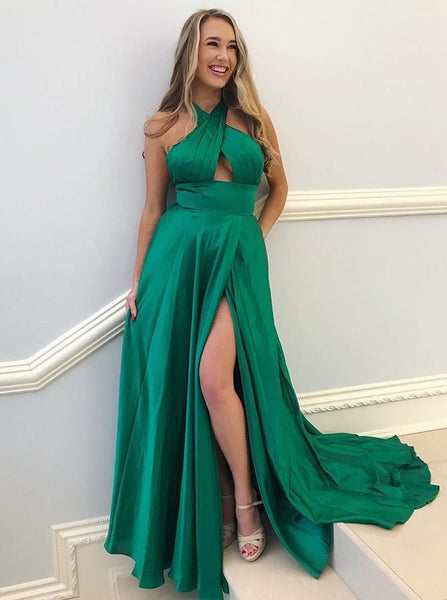 Unique A Line Backless Dark Red/Green Prom Dresses, Dark Red/Green Formal Dresses, Evening Dresses, Graduation Dresses