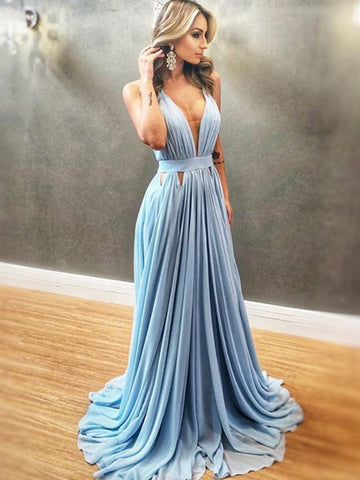 Unique A Line V Neck Blue Pleated Chiffon Long Prom Dresses, V Neck Blue Formal Dresses, Blue Evening Bridesmaid Dresses