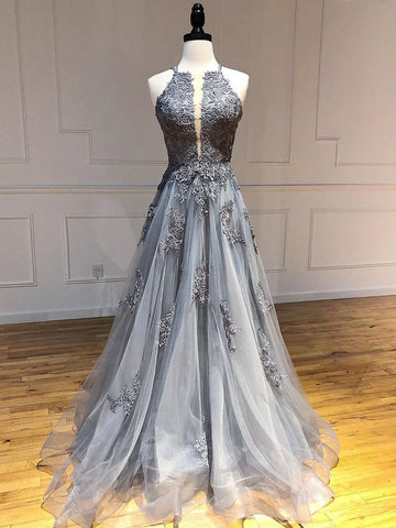 Unique Backless Lace Appliques Gray Long Prom Dresses, Backless Gray Lace Formal Dresses, Lace Gray Evening Dresses