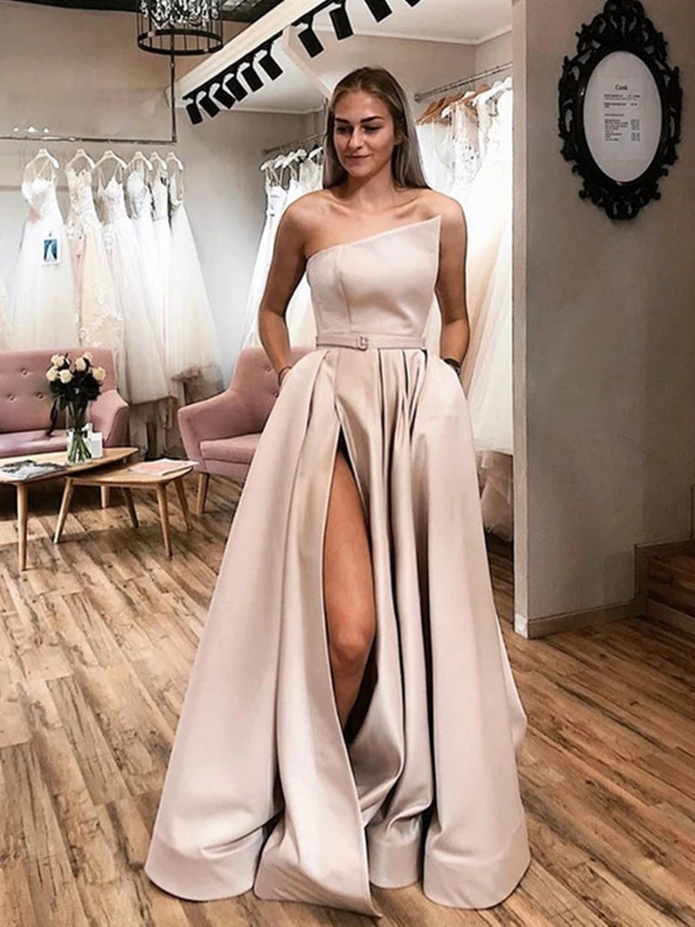 Unique Champagne Satin Long Prom Dresses with High Slit, Champagne Formal Graduation Evening Dresses