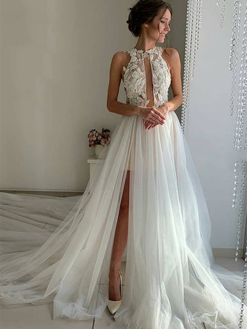 Unique High Neck Lace White Tulle Long Prom Wedding Dresses with High Split, White Lace Formal Evening Dresses
