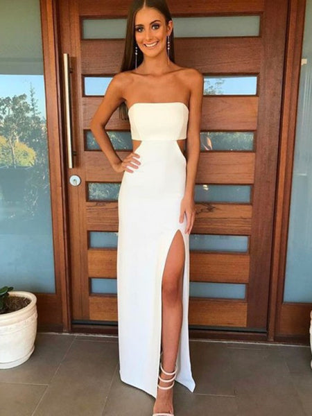 Unique Strapless Waist Cutout White Long Prom Dresses with Slit, Waist Cutout White Slit Formal Evening Dresses